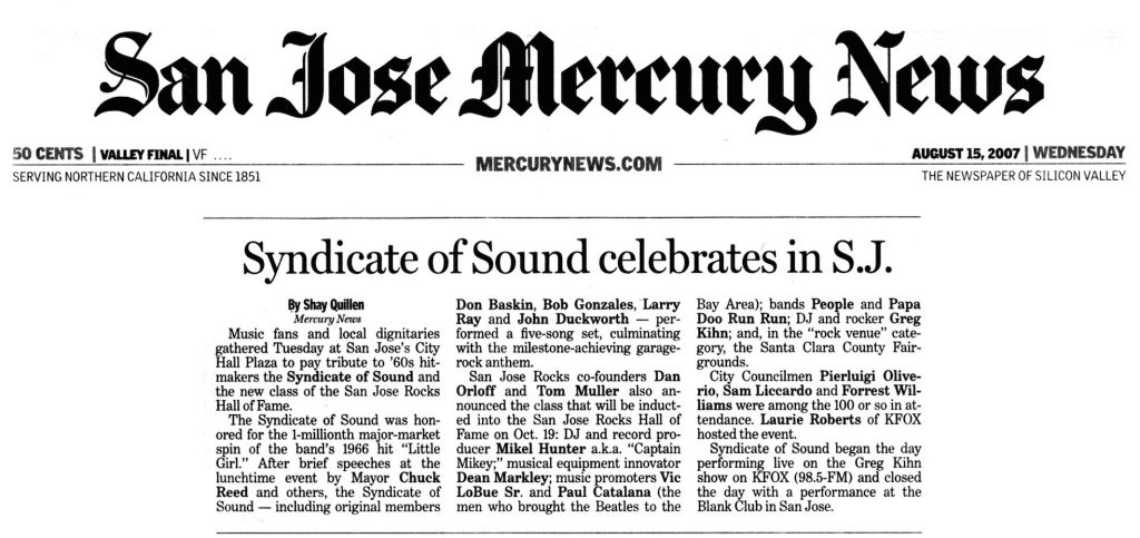 City of San José honors Syndicate of Sound's induction into BMI's Million-Air Club.
