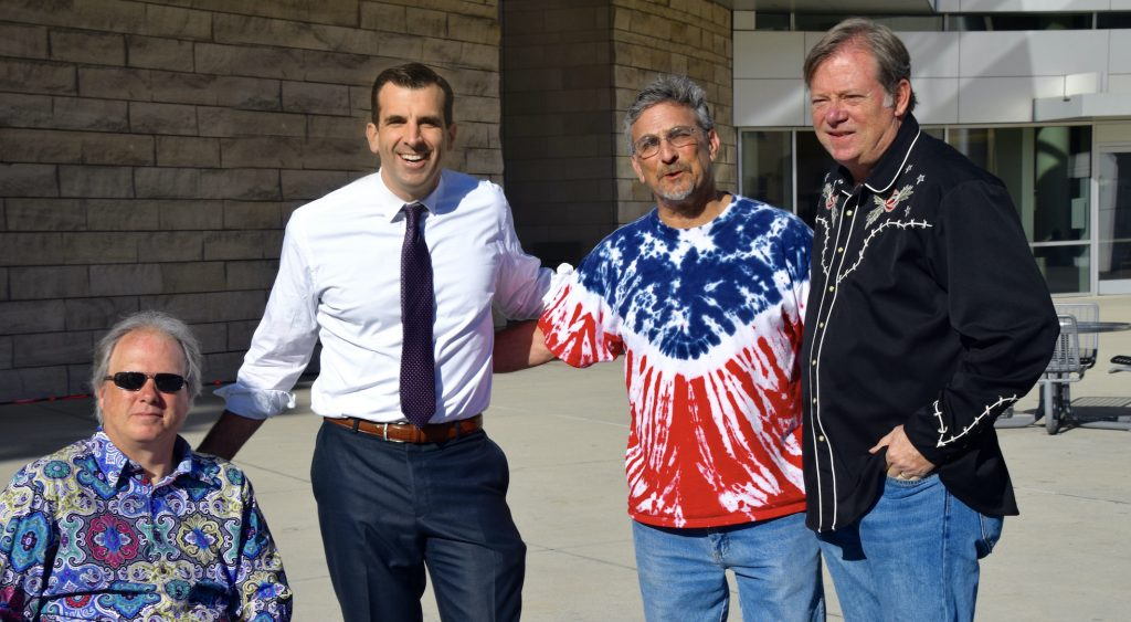 Commemorating the 50th anniversary of the Grateful Dead's first performance as the Grateful Dead at San Jose's City Hall. (L-R) Tom Clark, Mayor Sam Liccardo, me, Mark Purdy.)