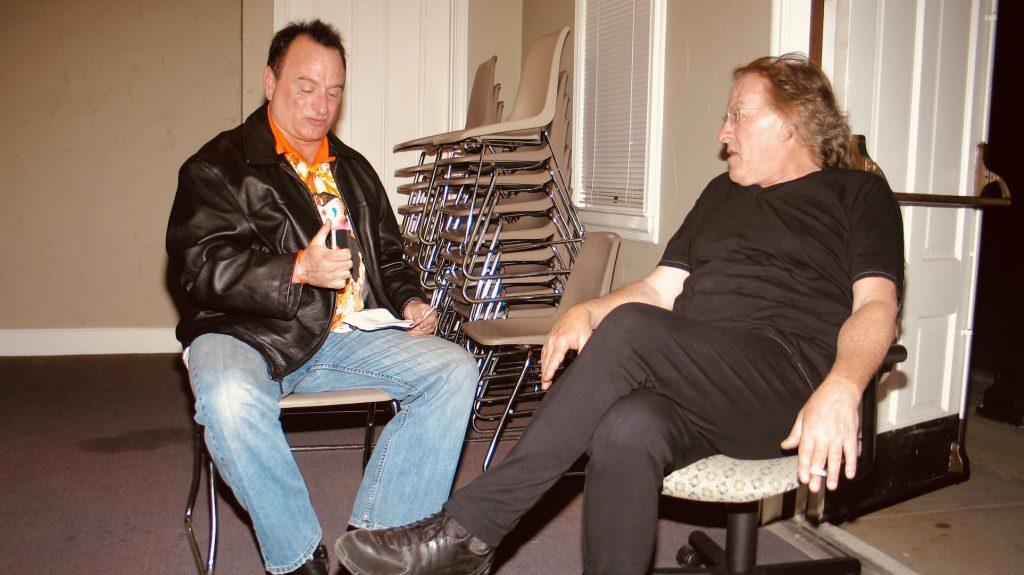 Mercury News reporter Brad Kava interviewing Paul Kantner.