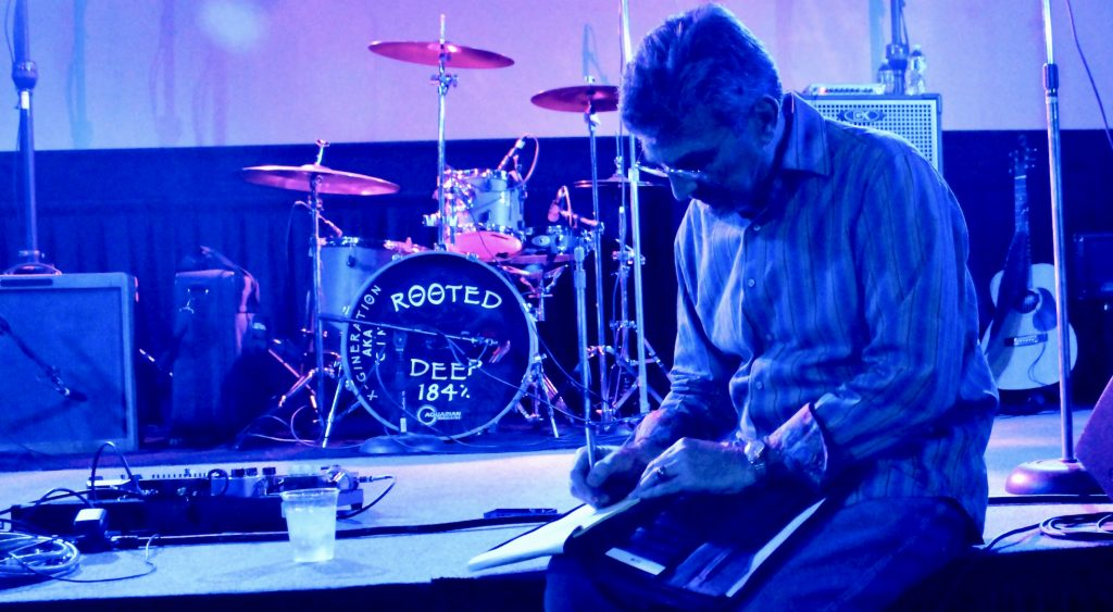 2015: Getting ready to produce a live blues show in downtown San Jose.