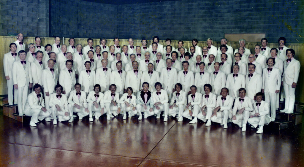 1975: I sang with my father, Jerry Orloff, in the Peninsulaires of Palo Alto, CA. In 2011, my father was inducted into the Barbershop Harmony Hall of Fame in Nashville. I'm just to the left of the conductor in the middle of the front row. Dad is third from the left, second row.