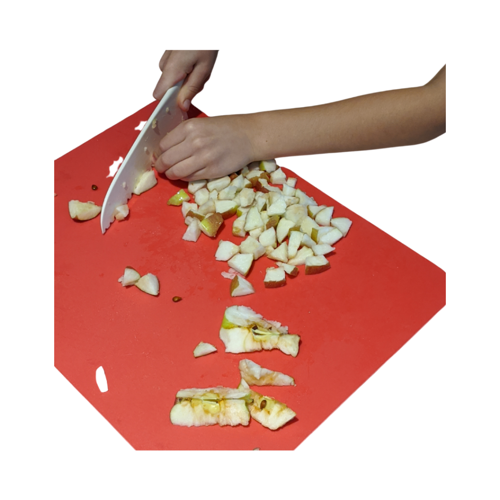 Cutting up Apples for Apple Cheddar Pizza