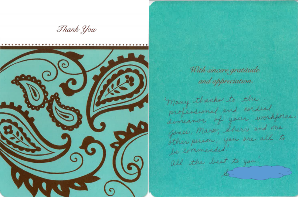 Thank you card from customer 01.13.2018