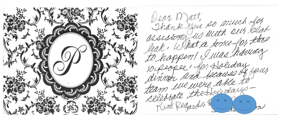 Thank you card from customer