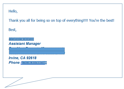 customer comment - property management company