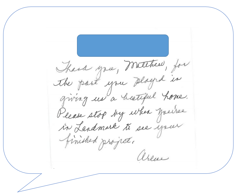 note from customer May 15