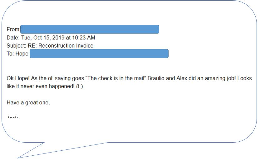 compliment from customer oct 15 2019