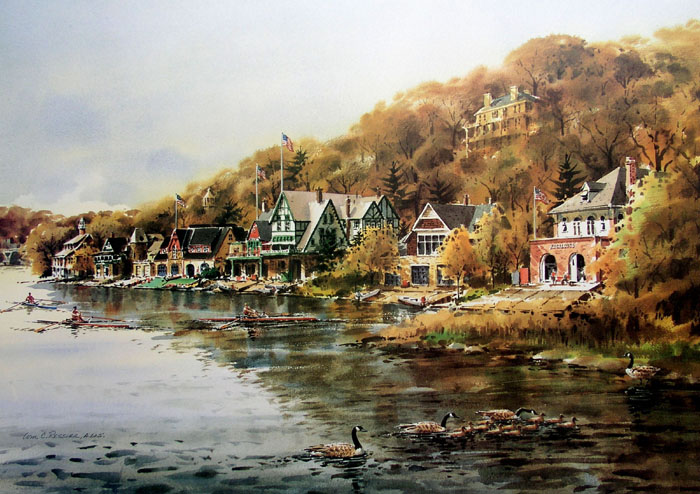 Afternoon on Boathouse Row by William Ressler