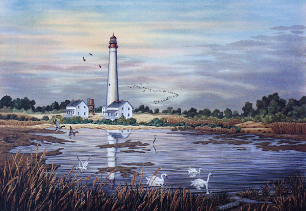 Cape May Light - Circa 1900 by William Dawson