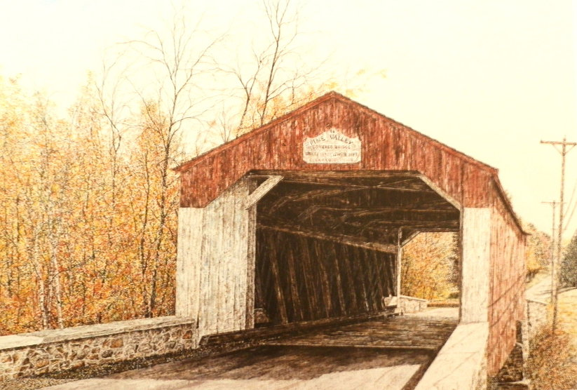 Covered Bridge offset print by James Redding