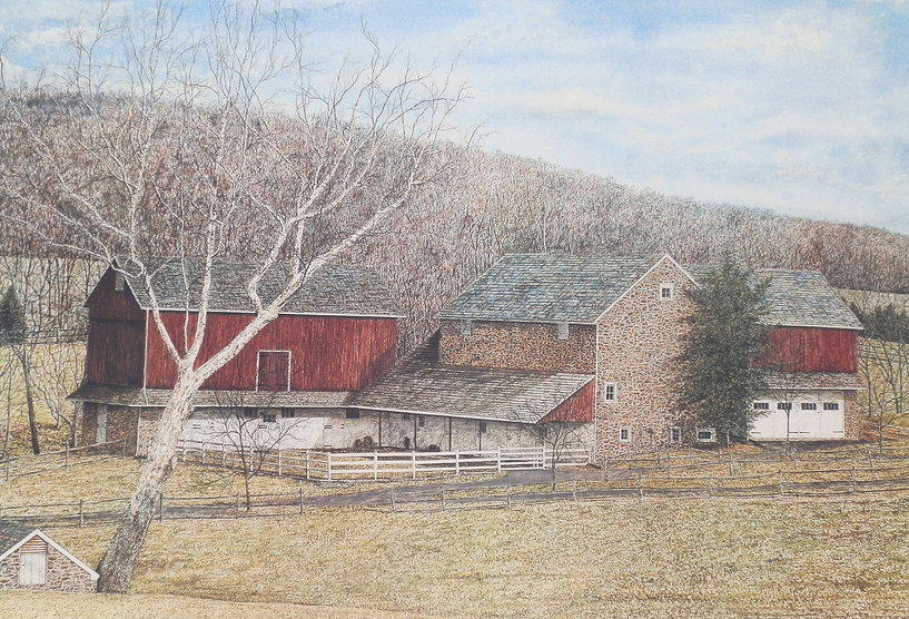 Headquarters Farm offset print by James Redding