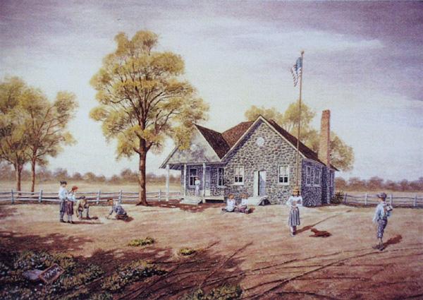 Old Stone School-Circa 1910 by William Dawson