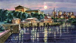 Schuylkill Nocturne Giclee by William Ressler