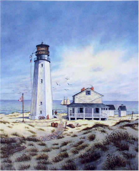 Cape Henlopen Light III (vertical) by William Dawson