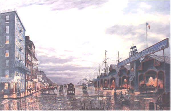 Delaware Avenue by Moonlight Philadelphia 1890 by William Dawson