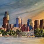 Philadelphia Skyline (New Moon Over Philly) by Moss Adams