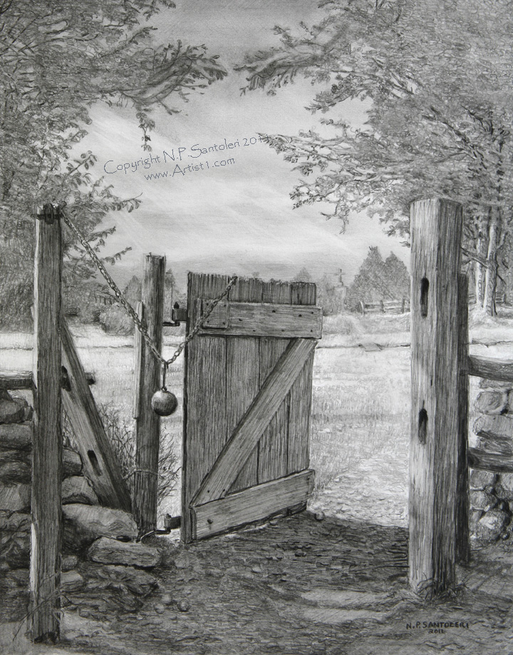 The Gate open edition Pencil print by Santoleri