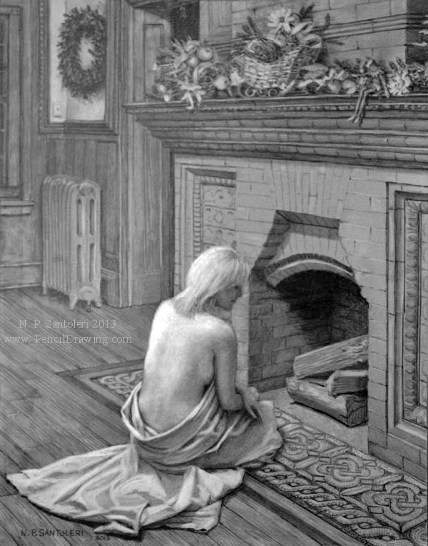 Waiting For Santa open edition Pencil print by Santoleri