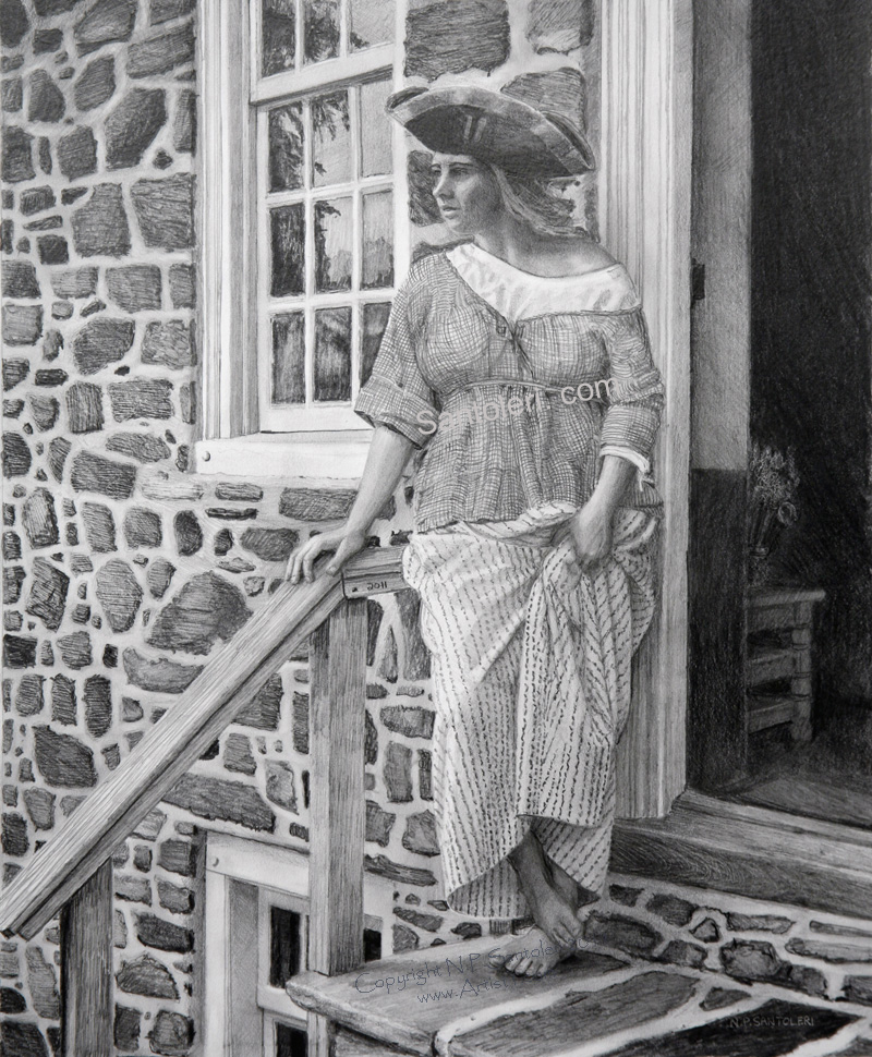 Woman With Tricorner Hat open edition Pencil print by Santoleri