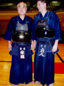 Sato Hironobu sensei (Kendo 8th Dan hanshi) and me at the BUDOKAN in Tokyo. Photo by Peter Ryan.