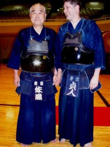 Sato Hironobu sensei (Kendo 8th Dan hanshi) and me at the BUDOKAN in Tokyo. Photo by Peter Ryan.