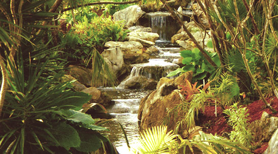 real rock waterfall, park scale project with tropical landscape & public seating areas