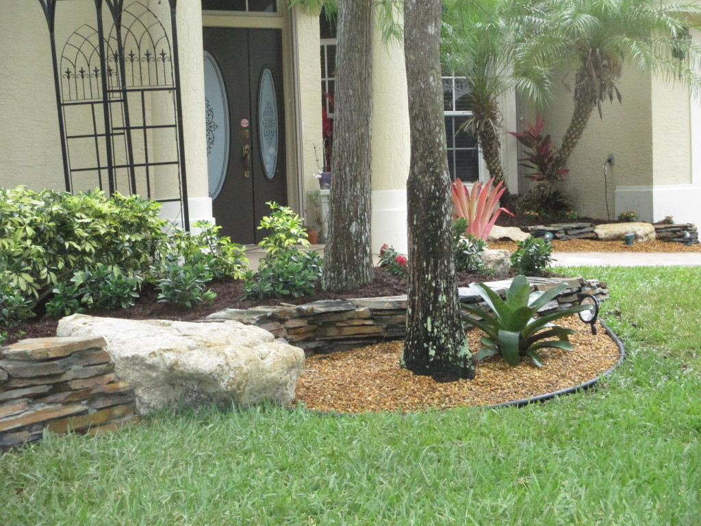 flagstone border edge for landscape with boulders