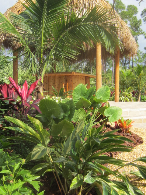 tropical landscape & tiki hut, west palm beach