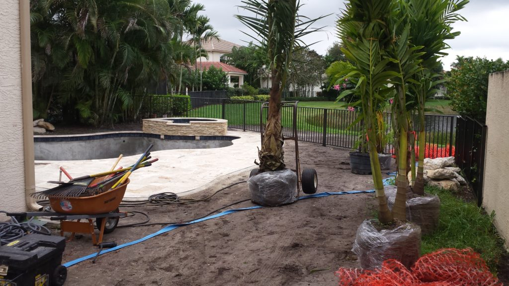 Landscape installation for a new swimming pool, in progress.