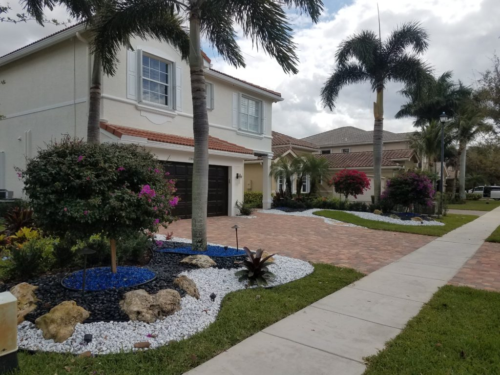 front yard landscape makeover in boynton beach