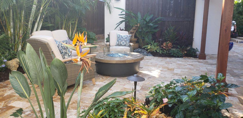 Backyard landscape paver patio & firepit west palm beach