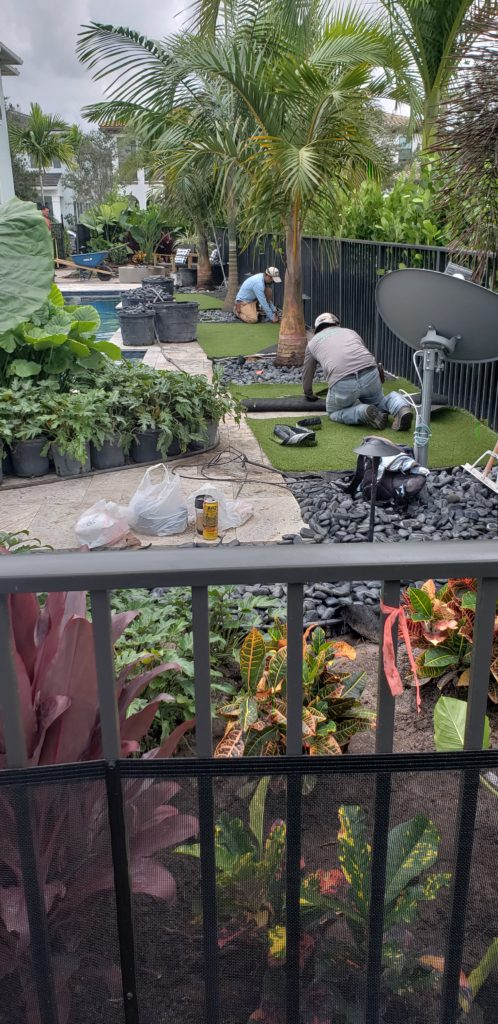 Artificial Turf installation with new landscape in Palm Beach Gardens