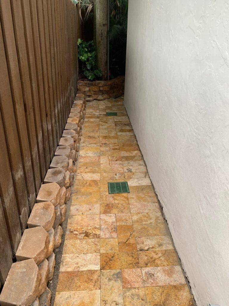 drainage work piping, retention brick & pavers downtown west palm beach residence