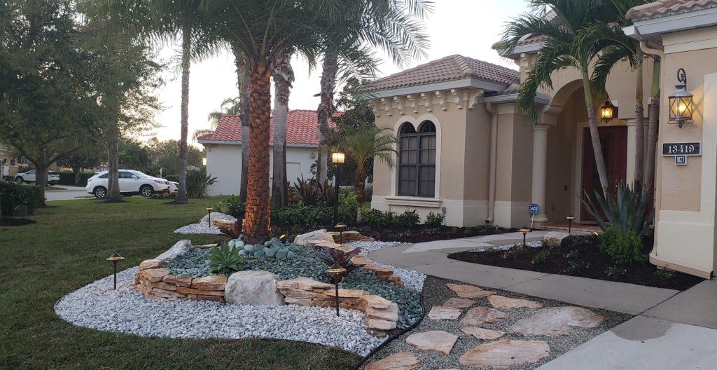 Landscape makeover front yard with rockscape
