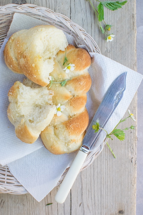 Bread, butter, plate