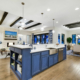 Blue kitchen island cabinets