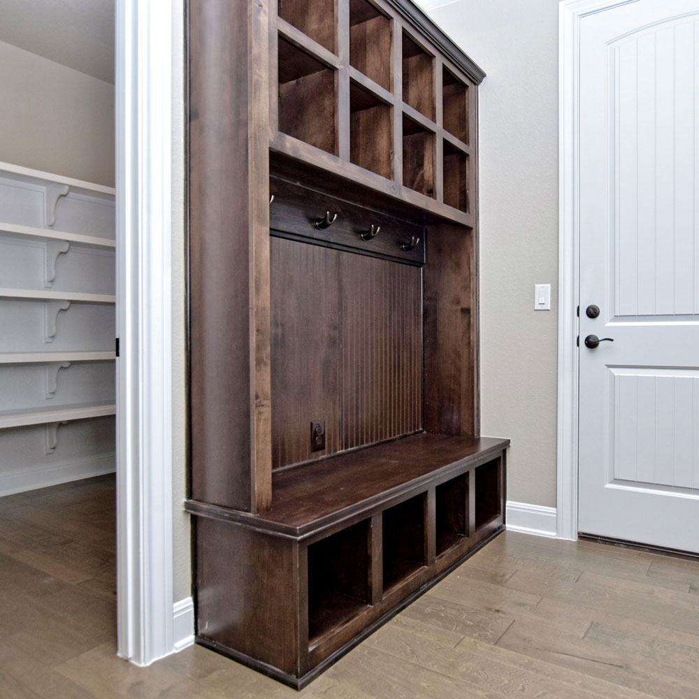 mud room bench and cubbies