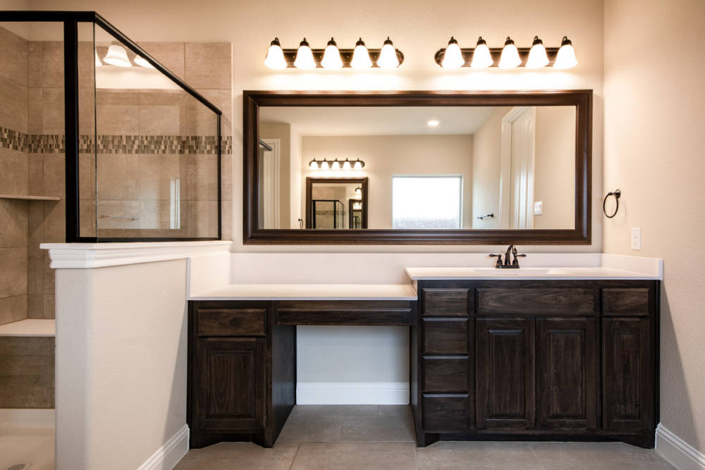 Master bath with makeup vanity seat space