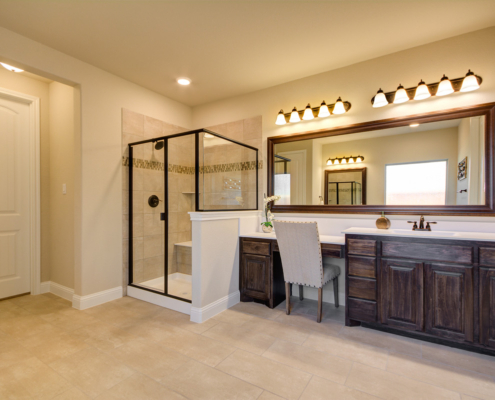 Master bath with seat knee space