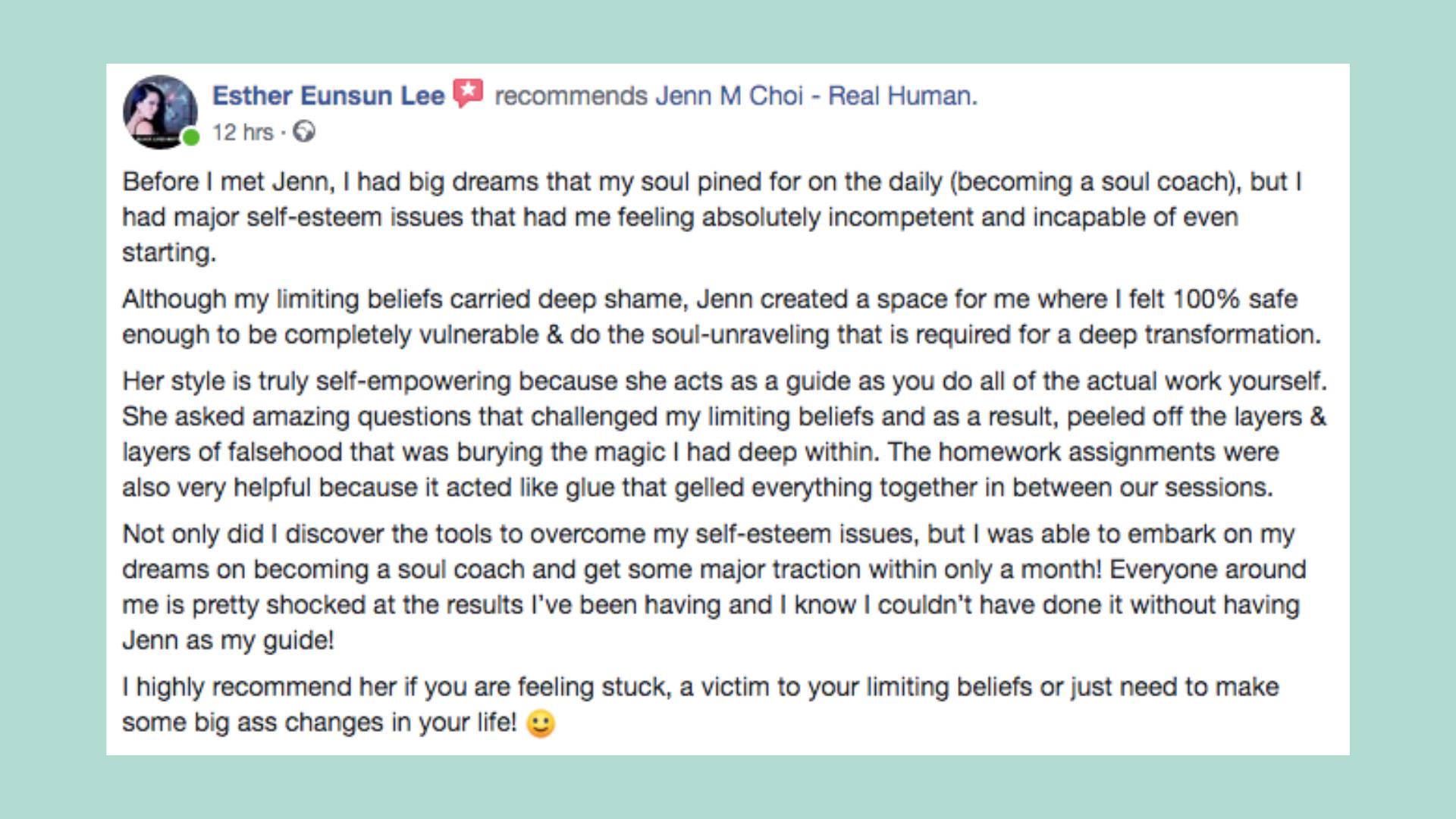 Esther Testimonial Jenn M Choi Coach
