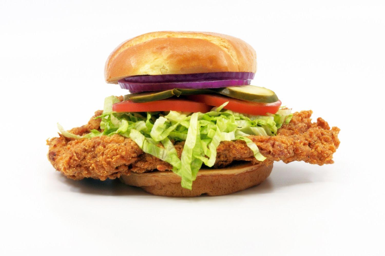 Chicken Sandwich White Background