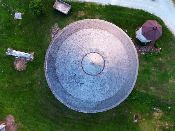 Round Barn in Indiana Drone Shot