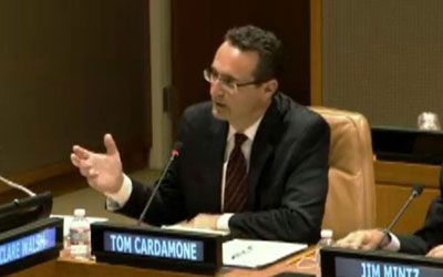 GFI's Tom Cardamone speaks on a panel at the United Nations.