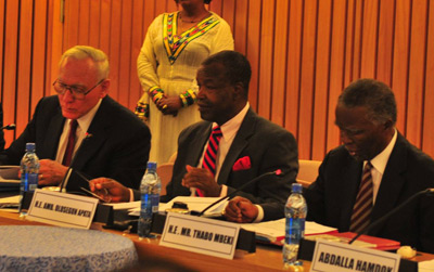 GFI President Raymond Baker, Amb. Olusegun Apata, and former South African President  Thabo Mbeki at the launch of the High Level Panel report. | Image: UNECA