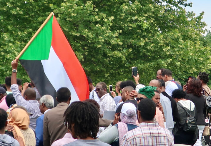 WASHINGTON, DC - JUNE 8, 2019: Demonstration in front of US Capitol Building calling for civilian rule in Sudan - man holds Sudan flag