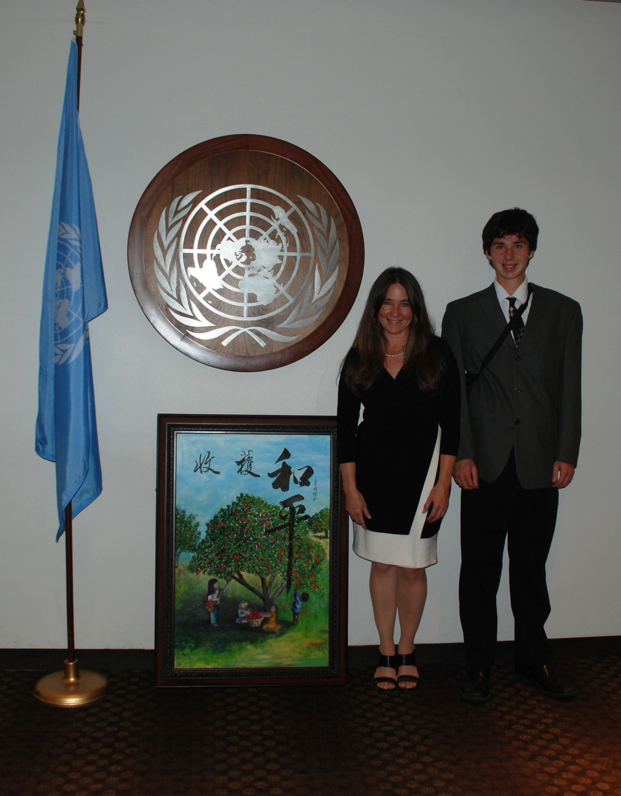 Debra Stasiak and her son Benjamin are shown here at the UNWG's official calendar launch