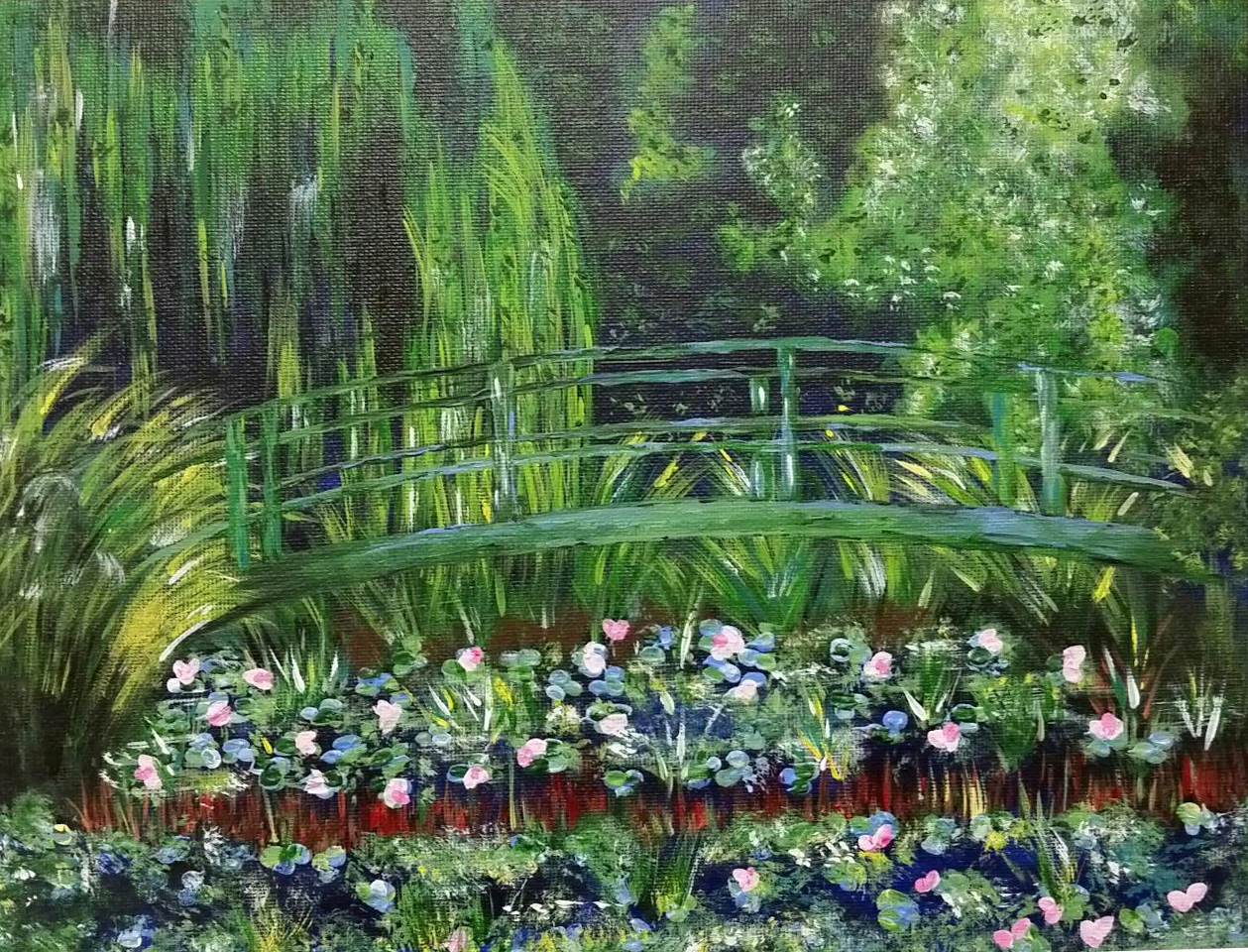 Rendition of Monet's The Japanese Footbridge by Anita