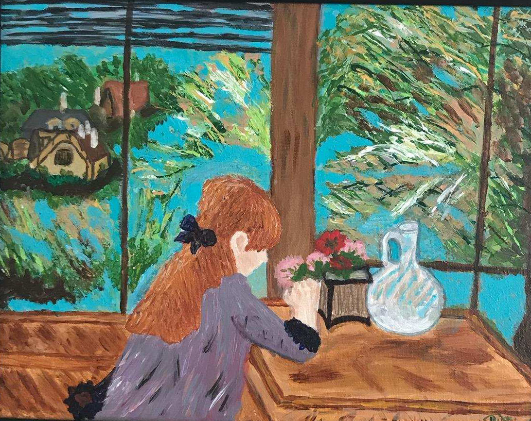 Rendition of Berthe Morisot's Girl with Red Hair Sitting on a Veranda by Rikki