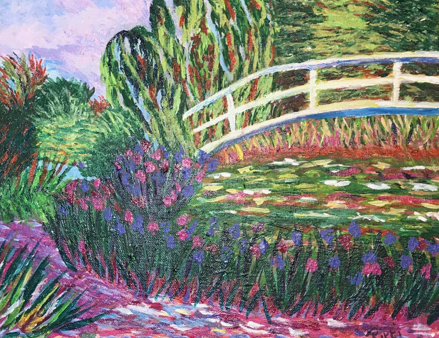 Rendition of Monet's The Japanese Footbridge by Rikki