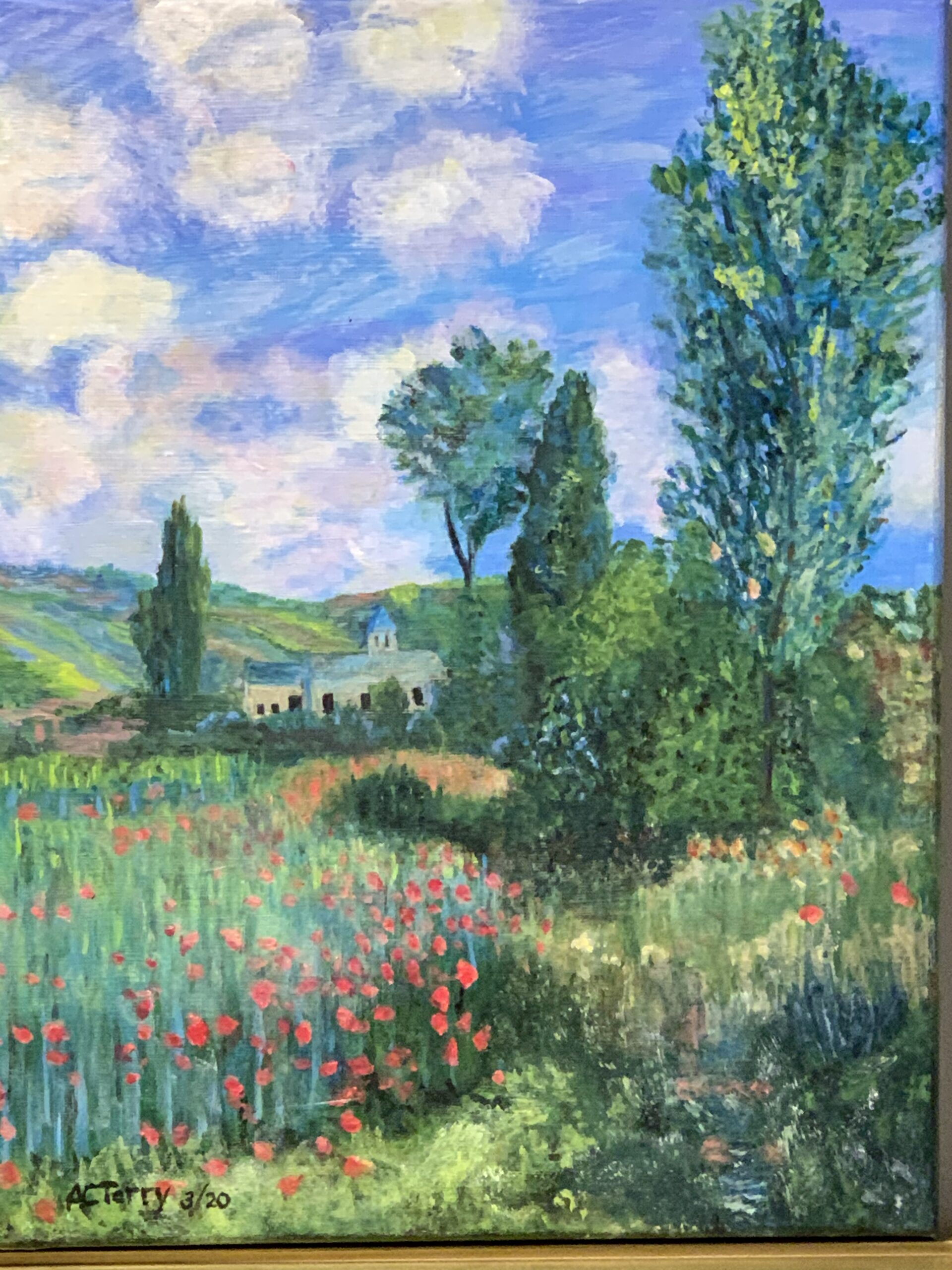Painting by Al Terry Monet's Lane in the Poppy Fields Ile Saint Martin cropped